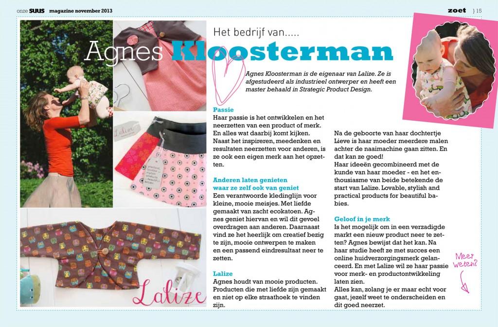 """Het bedrijf van Agnes Kloosterman in het online magazine """"Onze Suus"""""""